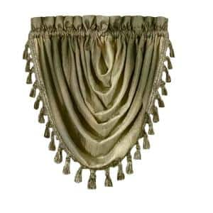 Ombre 42 in. L Polyester Window Curtain Waterfall Valance in Sage