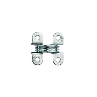 1/2 in. x 1-33/64 in. Satin Chrome Invisible Hinge (2-Pack)