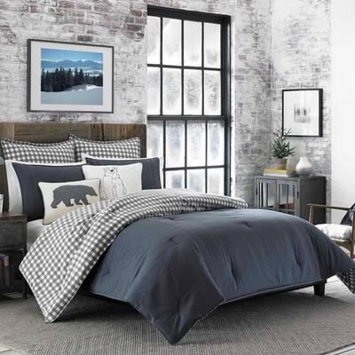 Kingston 2-Piece Charcoal Gray Plaid Reversible Solid Cotton Twin Comforter Set