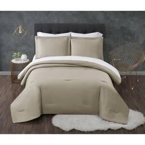 Antimicrobial 5-Piece Khaki Seersucker Microfiber Twin Comforter Set