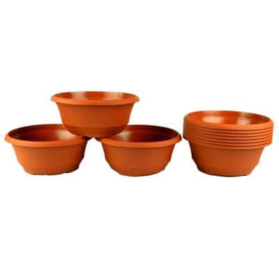 7.5 in. Plastic Bowl Planter Terra Cotta (Box of 10)