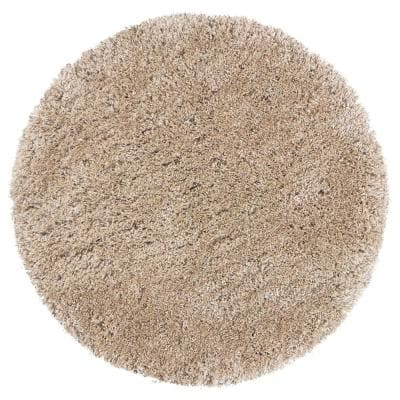 Commons Champagne Polyester Shag 3 ft. x 3 ft. Round Area Rug