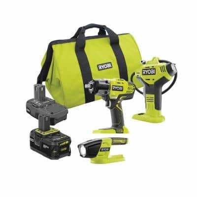 ONE+ 18V Cordless 1/2 in. Impact Wrench, Inflator, LED Light Kit w/(1)4.0Ah, (1)1.5Ah Battery, Bag, Charger Not Included