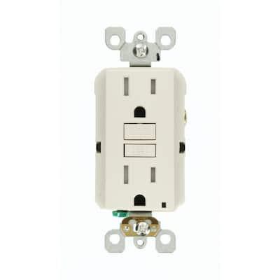 15 Amp 125-Volt Duplex SmarTest Self-Test SmartlockPro Tamper Resistant GFCI Outlet, Light Almond