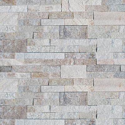 White Chestnut 6 x 24 in. Natural Stacked Stone Veneer Panel Siding Exterior/Interior Wall Tile (10-Boxes/55 sq. ft.)
