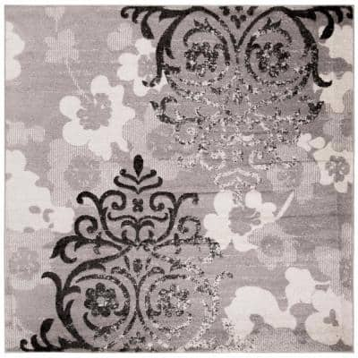 Adirondack Silver/Ivory 7 ft. x 7 ft. Square Floral Area Rug