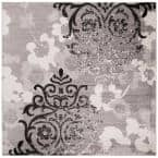 Adirondack Silver/Ivory 9 ft. x 9 ft. Square Floral Area Rug