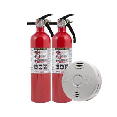 10 Year Worry-Free Home Fire Safety Kit, 3-Pack Battery Smoke/CO Detector with Voice Alarm & 2-Pack Fire Extinguisher