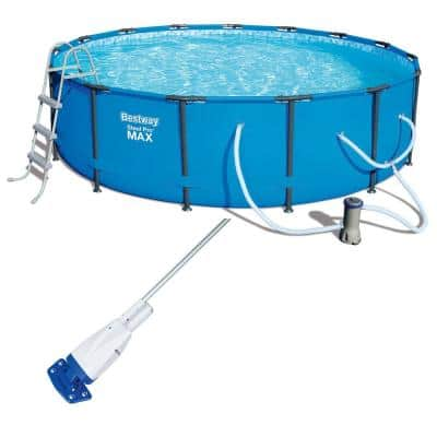 15 ft. Round 42 in. D Steel Pro Max Frame Hard Side Above Ground Pool and Vacuum