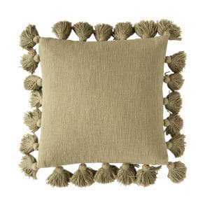 Olive Green Solid 18 in. x 18 in. Throw Pillow