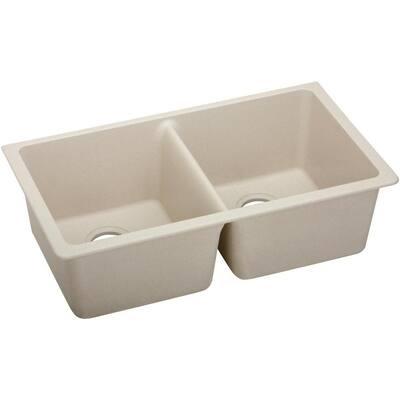 Quartz Classic Putty Quartz 33 in. Equal Double Bowl Undermount Kitchen Sink