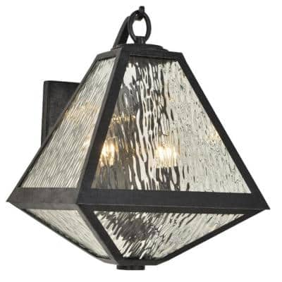 Glacier 2-Light Black Charcoal Outdoor Wall Mount Sconce