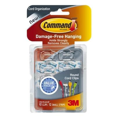 Clear Round Cord Clips with Clear Strips (10-Pack)