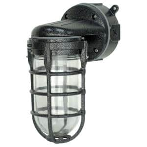 Industrial 1-Light Hammered Black Outdoor Weather Tight Flushmount Wall Light Fixture
