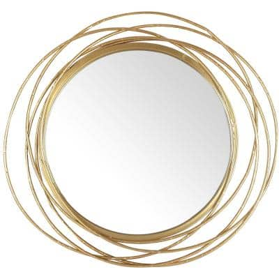 27.5 in. dia. Framed Gold Round Wall Mirror, Circle Rings Hanging Modern Metal Frame Accent Wall Decor