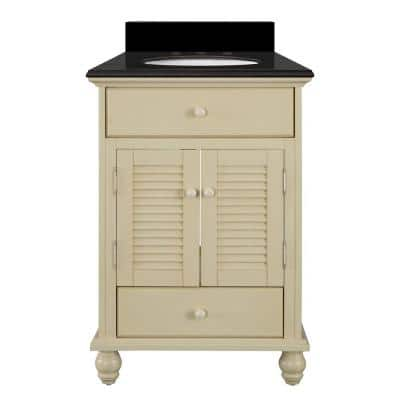 Cottage 25 in. W x 22 in. D Bath Vanity in Antique White with Granite Vanity Top in Midnight Black with Oval White Basin