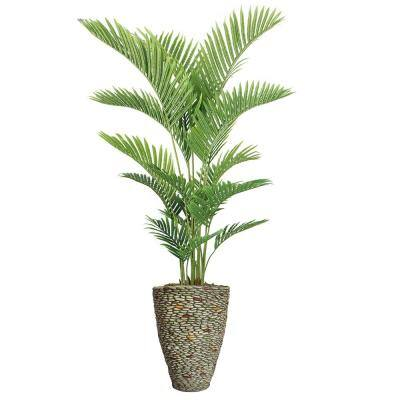 76.5 in. Real Touch Palm Tree in Fiberstone Planter