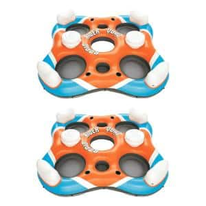 Rapid Rider 101 in. 4-Person Floating Island Pool Raft with Coolers (2-Pack)