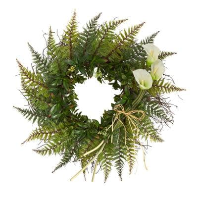 23 in. Assorted Fern and Crean Calla Lily Artificial Wreath