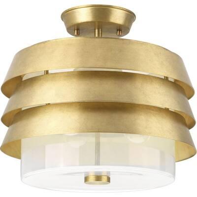 Jeffrey Alan Marks Sandbar 14 in. Brushed Brass Semi-Flush Convertible