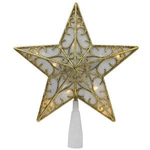 9 in. Gold Glitter Star LED Christmas Tree Topper - Warm White Lights