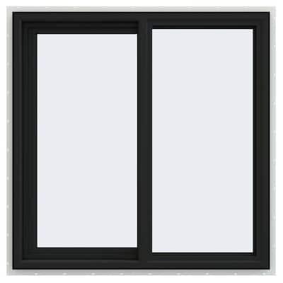 36 in. x 36 in. V-4500 Series Bronze FiniShield Vinyl Left-Handed Sliding Window with Fiberglass Mesh Screen
