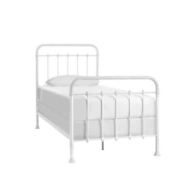 Dorley Farmhouse White Metal Twin XL Bed (42.9 in W. X 53.5 in H.)