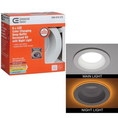 6in. CanlessSelectableIntegrated LED Recessed Trim with Night Light Downlight900Lumens Dimmable