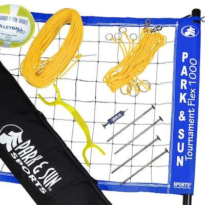 Tournament Flex 1000 Portable Outdoor Volleyball Net Set, Blue