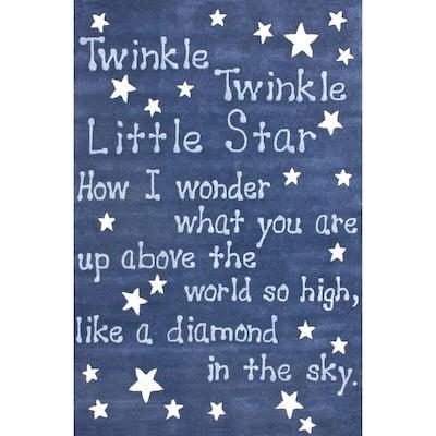 Twinkle Twinkle Nursery Playmat Sky 5 ft. x 7 ft.  Area Rug
