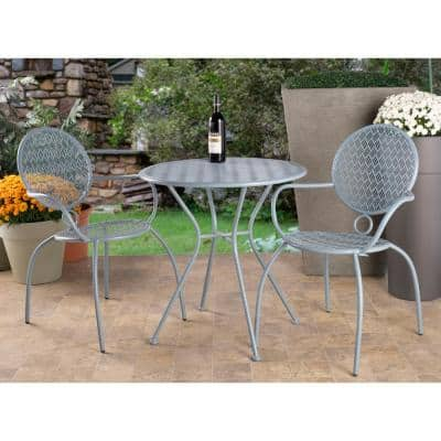 Martini Cadet Blue 3-Piece Metal Outdoor Bistro Set with 27.5 in. Round Table and 2 Stackable Chairs