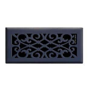 Elegant Scroll 4 in. x 10 in. Steel Floor Register in Matte Black
