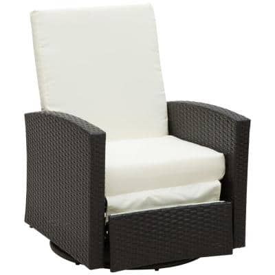 Plastic Rattan Wicker Swivel Outdoor Recliner Lounge Chair with Cream White Water/UV Fighting Material and Comfort