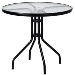 32 in. Black Round Metal Outdoor Dining Table with Umbrella Hole and Tempered Glass Top