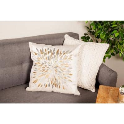 20 in. x 20 in. Multicolored Leaf Burst Design Polyester Pillow