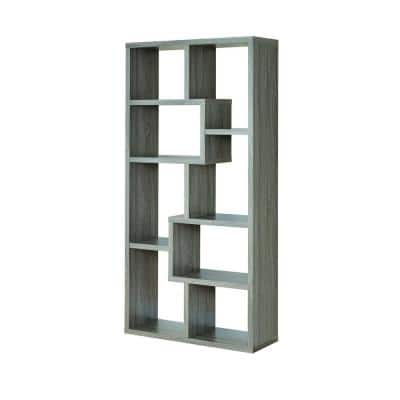71.88 in. Weathered Gray Wood 8-shelf Etagere Bookcase with Open Back