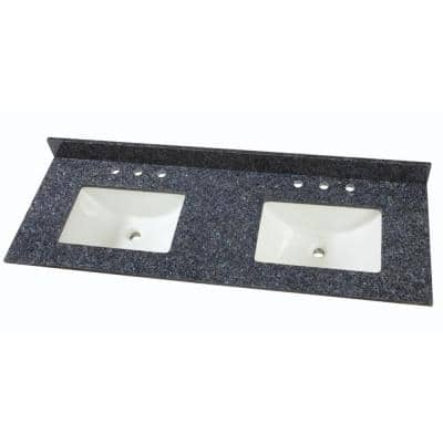 61 in. W Granite Double Sink Vanity Top in Blue Pearl with White Trough Sinks