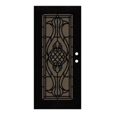 36 in. x 80 in. Manchester Black Right-Hand Surface Mount Security Door with Brown Perforated Metal Screen