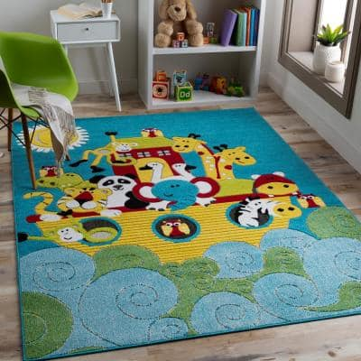 Noah's Ark Multi-Colored Blue/Yellow 6 ft. 7 in. x 9 ft. Area Rug
