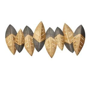 Black and Gold Leaves Metal Wall Decor, 47 in. x 24 in.