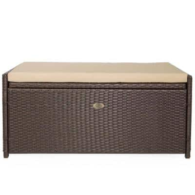 60 Gal. Wicker All-Weather Rattan Storage Deck Box with Cushion Seats
