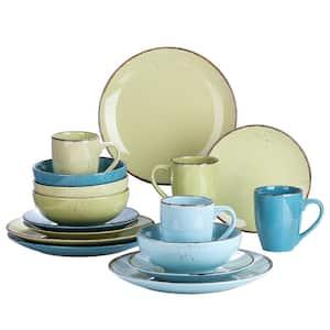 16-Piece Assorted Colors Ceramic Dinnerware Set Plates and Bowls Set Coffee Mug(Service for 4)
