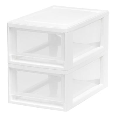 White Small Stacking Plastic Storage Drawer (2-Pack)