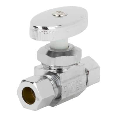 3/8 in. O.D. Compression Inlet x 3/8 in. O.D. Compression Outlet Multi-Turn Straight Valve, Chrome