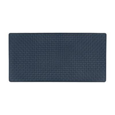 Woven Embossed Faux Leather Navy 20 in. x 39 in. Anti-Fatigue Mat
