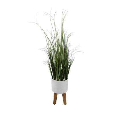 43 in. H Artificial Onion Grass in 8 in. Sunburst Ceramic Pot on Stand