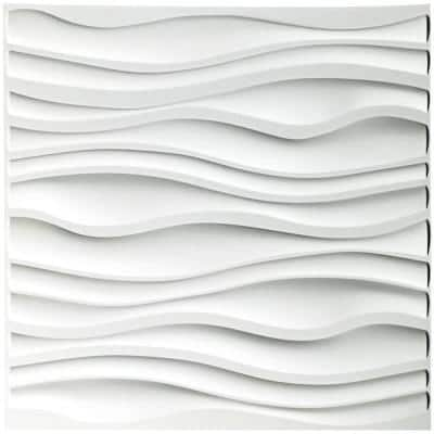 Wallpanel 19.7 in. x 19.7 in. White Wave PVC 3D Wall Panels for Interior Decor (12-Pack)