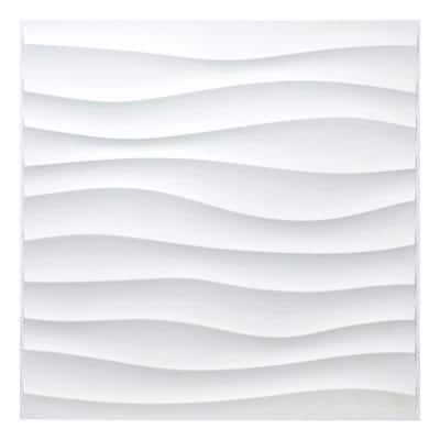 Art3d 19.7 in. x 19.7 in. 33 sq. ft. White Downsand PVC 3D Wall Panels for Interior Decor (12-Pack)