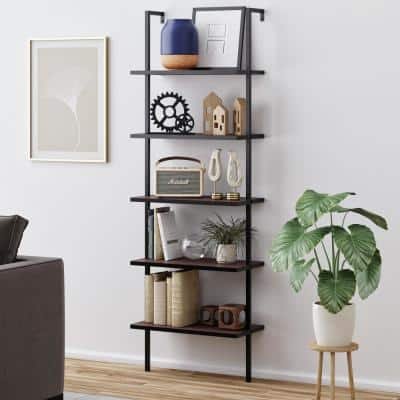 Theo Walnut Brown 5-Shelf Ladder Bookcase or Bookshelf with Black Metal Frame