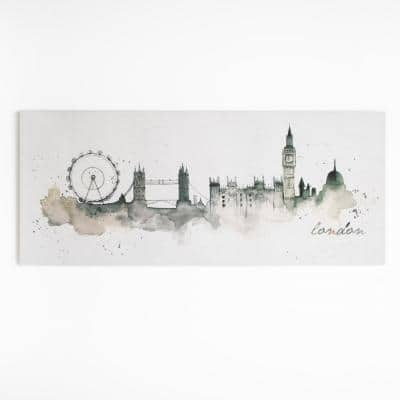 "47 in. x 20 in. ""London Watercolor"" by Graham and Brown Printed Canvas Wall Art"